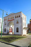 Arch of the church. White arch in front of the church of Dmitry Solunskiy. Krasnodar, Russia Royalty Free Stock Image