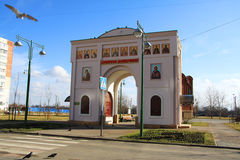 Arch of the church. White arch in front of the church of Dmitry Solunskiy. Krasnodar, Russia Stock Images