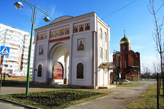 Arch of the church. White arch in front of the church of Dmitry Solunskiy. Krasnodar, Russia Stock Photo
