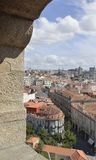 Arch of Clerigos Tower. View of the city  from an arch of Clerigos Tower in Porto, Portugal Stock Photo
