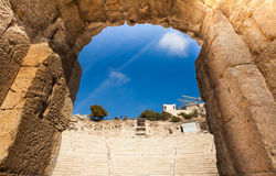 Arch close up view, Odeon of Herodes Atticus. Arch close up view of Odeon of Herodes Atticus in Athens, Greece Stock Photo