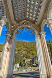 Arch of Colonnade in Gagra, Abkhazia, backlit against the sky,. Gagra, Abkhazia, 01.12.2017  Arch of Colonnade in Gagra, Abkhazia, backlit against the sky Royalty Free Stock Photo