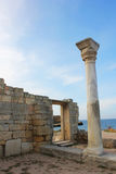 Arch and column of the ancient city in Crimea, Hersoness. Ruins of the ancient city of arches in the Crimea, Hersoness Royalty Free Stock Photo