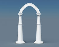 Arch and columns on a blue background. 3d rendering.  Royalty Free Stock Images