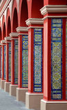 Arch Columns with Colorful tiles - Lima. Red Arch Columns Pathway with Classic Colorful tiles - Lima Peru Stock Photos