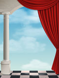 Arch with columns and curtain. On background sky with clouds Stock Image