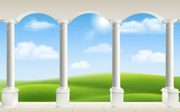Arch columns meadow Royalty Free Stock Photos
