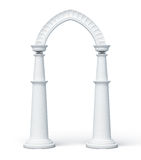 Arch and columns  on white background. 3d render image.  Royalty Free Stock Photography