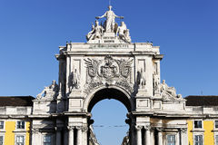Arch at commerce square. At Lisbon, Portugal Stock Photos