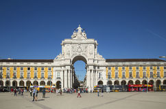 Arch at commerce square in Lisbon, Portugal Stock Image