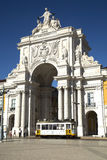 Arch at commerce square in Lisbon, Portugal Royalty Free Stock Photography