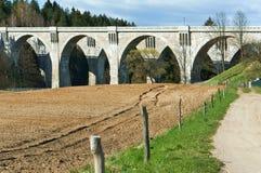 Arch, concrete, wood, bridge, support, viaduct, concrete Royalty Free Stock Photos