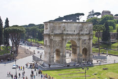 The arch of Constantine. The triumphal Arch of Constantine near the colosseum in Rome Italy Royalty Free Stock Image