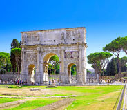 The arch of Constantine. At the end of the palatine hill. Rome, Italy royalty free stock image