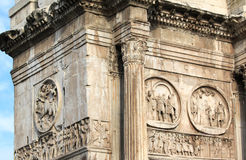 Arch of Constantine. (Arco Constantino) - Roman empire ancient landmark in Rome, Italy Royalty Free Stock Images