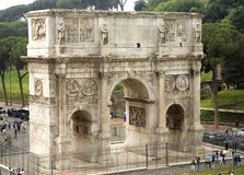 Arch of Constantine. The Arch of Constantine in Rome next to the Colosseum. Religiously significant because it commemorates the battle that led the Emperor Royalty Free Stock Photos