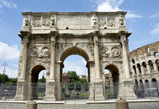 The Arch of Constantine. And the Colosseum in Rome, Italy Royalty Free Stock Photos