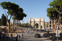 The Arch of Constantine in  Ancient Rome. Rome, Italy - 2012 - The Arch of Constantine is adjacent to the colosseum and is a major tourist site Royalty Free Stock Images