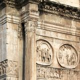 Arch of Constantine. (Arco Constantino) - Roman empire ancient landmark in Rome, Italy. Square composition Stock Photo