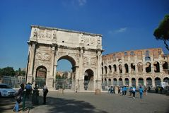 The arch of Constantine (Arco di Constantino). — a three-span arch in Rome between the Colosseum and the Palatine on the ancient Via Triumphalis Royalty Free Stock Photos