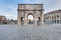 Arch of Constantine in Rome, Italy. Arch of Constantine (Arco di Costantino), a triumphal arch in Rome, located between the Colosseum and the Palatine Hill Stock Image