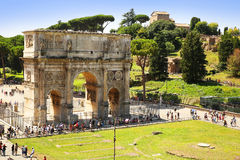 The Arch of Constantine (Arco di Costantino) is a triumphal arch. In Rome, situated near the Colosseum Stock Images