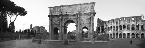 Arch of Constantine. B&w panoramic arch of constantine and coliseum Royalty Free Stock Photo