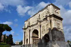 Arch of Constantine with beautiful sky in the center of Rome Stock Photos