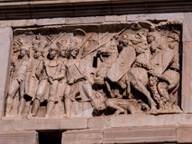 Arch of Constantine, carvings. Close up of carvings of the Arch of Constantine. In Rome, Italy Royalty Free Stock Photo