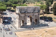 The Arch of Constantine in central Rome. The Arch of Constantine, next to the Colosseum, in central Rome Stock Photo