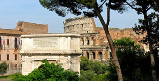Arch of Constantine and Collosseum, Rome Stock Photo