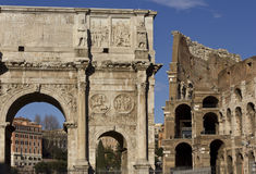 Arch of Constantine and Colosseo Royalty Free Stock Photo