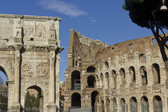 Arch of Constantine and Colosseo Royalty Free Stock Image