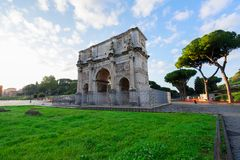 Colosseum and Arch of Constantine, Rome, Italy. Arch of Constantine and Colosseum, antique Rome city, Italy Stock Photo