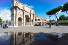 Colosseum and Arch of Constantine, Rome, Italy Royalty Free Stock Photo