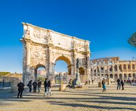 Arch of Constantine and Colosseum. Colosseum and the Arch of Constantine in Rome, Italy Royalty Free Stock Image