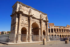 Arch of Constantine and The Colosseum Royalty Free Stock Photos