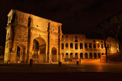 Arch of Constantine and The Colosseum. At the Roman Forum in Rome at night, Italy Royalty Free Stock Photography