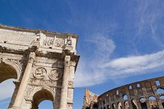 Arch of Constantine and colosseum (Rome Italy). On the left the arch of Constantine and  on the right side the Coliseum (Roma Italy Royalty Free Stock Photos