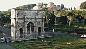 Arch of Constantine. From the Colosseum in Rome-Italy Stock Images