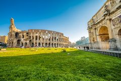 Arch of Constantine and Colosseum. Colosseum and the Arch of Constantine in Rome, Italy Stock Photography