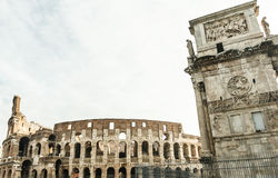 Arch of Constantine and Colosseum at Rome. Stock Images