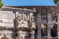 Arch of Constantine and Colosseum. Rome, Italy. Details of Arch of Constantine and Colosseum Stock Photo