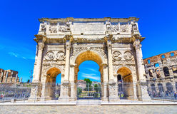 The Arch of Constantine and the Colosseum in Rome, Italy royalty free stock photography
