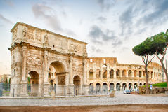 Arch of Constantine and The Colosseum, Rome Royalty Free Stock Photos