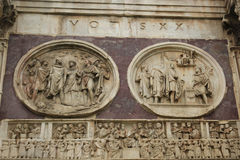 The Arch of Constantine - detail, Rome, Italy. The Arch of Constantine is a triumphal arch in Rome, situated between the Colosseum and the Palatine Hill. It was Royalty Free Stock Photography