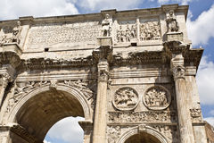 Arch of Constantine. Detail of the triumphal Arch of Constantine in Rome, situated between the Colosseum and the Palatine Hill Royalty Free Stock Image