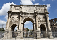 Arch of Constantine. Detail of the triumphal Arch of Constantine in Rome, situated between the Colosseum and the Palatine Hill Stock Photography