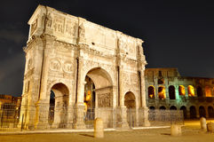 Arch of Constantine near the Colosseum. (Arco di Costantino) night view Royalty Free Stock Image