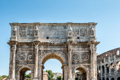 Arch of Constantine near the Colosseum. The arch of Constantine near the Colosseum during the day in Rome, Italy Royalty Free Stock Photos